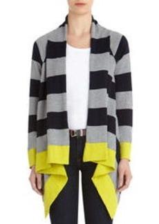 Striped Drape Front Cardigan (Petite)
