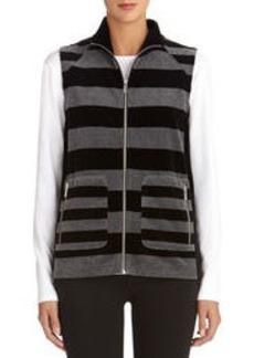 Striped Mock Neck Velour Vest