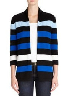 Striped Open Front Cotton Cardigan (Plus)