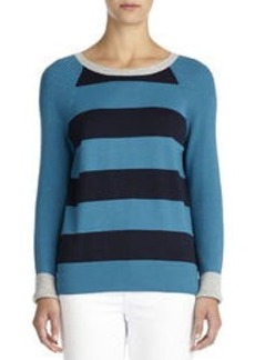 Striped Pullover Sweater with Raglan Sleeves