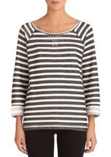 Striped Scoop Neck Cotton Pullover with Studs (Petite)