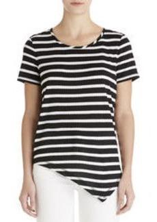 Striped Tee Shirt with Asymmetrical Hem