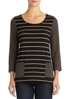 Striped Top with 3/4 Sleeves and Patch Pockets