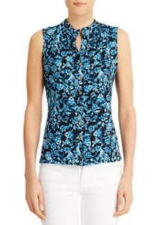 Tailored Sleeveless Shell with Ruffled Neck (Plus)