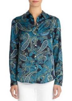 Taylor Long Sleeve Paisley Shirt (Petite)