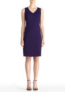 Textured Knit V-Neck Sleeveless Sheath Dress