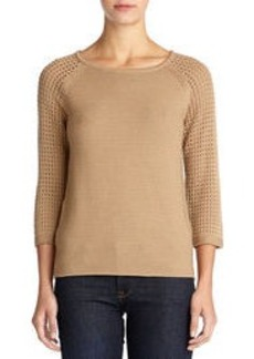 Textured Sweater with 3/4 Raglan Sleeves