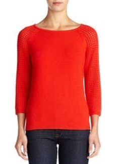 Textured Sweater with 3/4 Raglan Sleeves (Petite)