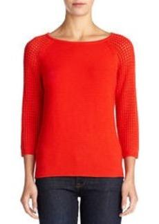 Textured Sweater with 3/4 Raglan Sleeves (Plus)