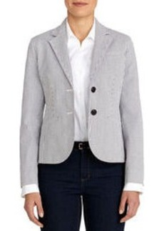 The Olivia Seersucker Two-Button Blazer (Plus)