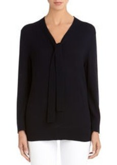 Tie Front Navy Blue Sweater