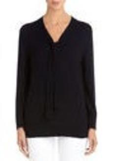 Tie Front Navy Blue Sweater