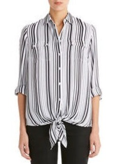 Tie Front Shirt with Roll Sleeves (Plus)