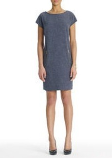 Tunic Dress with Short Sleeves and Zip Pockets