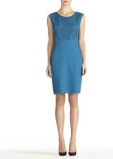 Turquoise Sheath Dress with Embellished Bodice