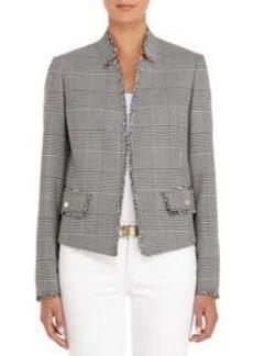 Tweed Blazer in Black and Ivory Plaid