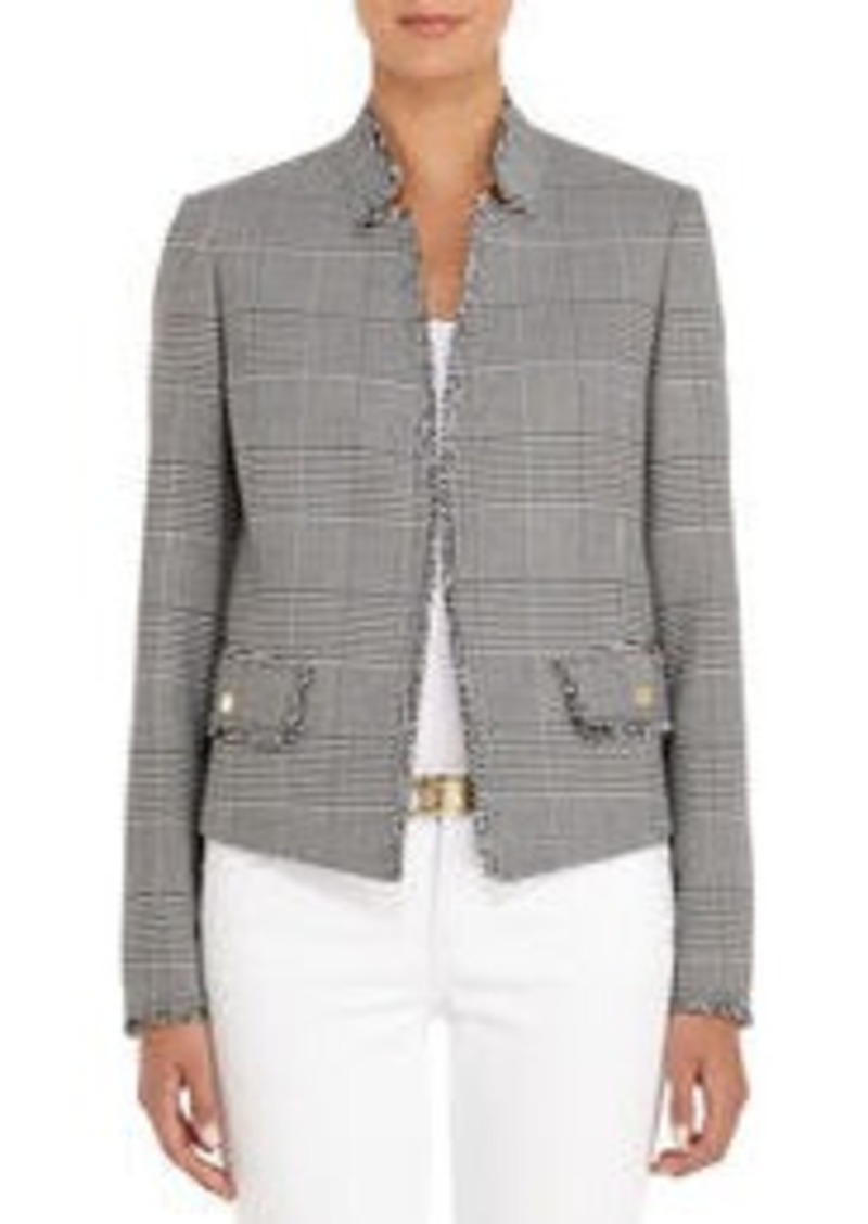 Tweed Blazer in Black and Ivory Plaid