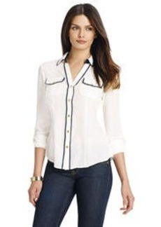 V-Neck Blouse with Roll Sleeves (Petite)