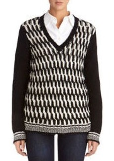 V-Neck Cable-Stitched Sweater