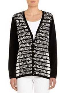 V-Neck Cotton Cardigan with Long Sleeves