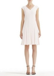 V-Neck Fit and Flare Dress with Cap Sleeves