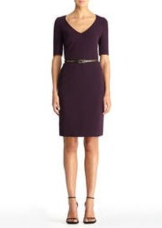 V-Neck Sheath Dress with Belt
