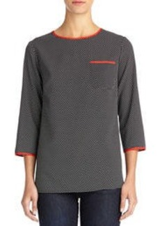 Woven Crew Neck Tee Shirt with Pocket