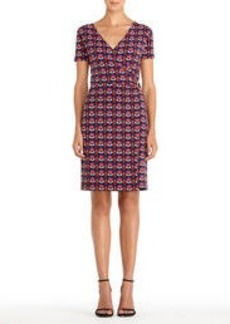Wrap Dress with Short Sleeves and Side Buckle