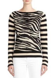 Zebra Print Boat Neck Sweater