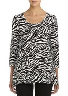 Zebra Print Scoop Neck Blouse with 3/4 Sleeves (Plus)