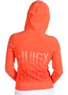 """Juicy Couture Long Sleeved Micro Terry Original Hoodie With Satin Stitch """"Juicy"""" Embroidery"""