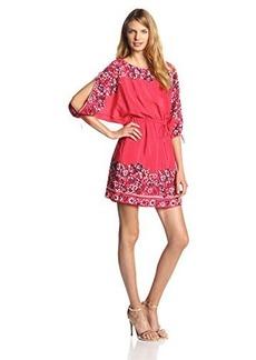 Juicy Couture Women's Desert Rose Silk Peasant Dress