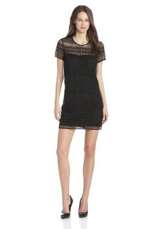 Juicy Couture Women's Linear Guipure Short Sleeve Dress