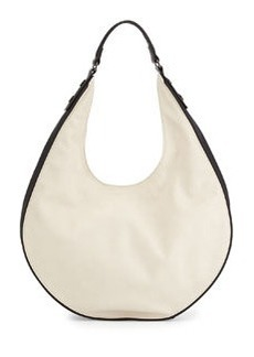 K. Jacques Elite Contrast Trimmed Faux-Leather Hobo Bag, Eggshell/Black