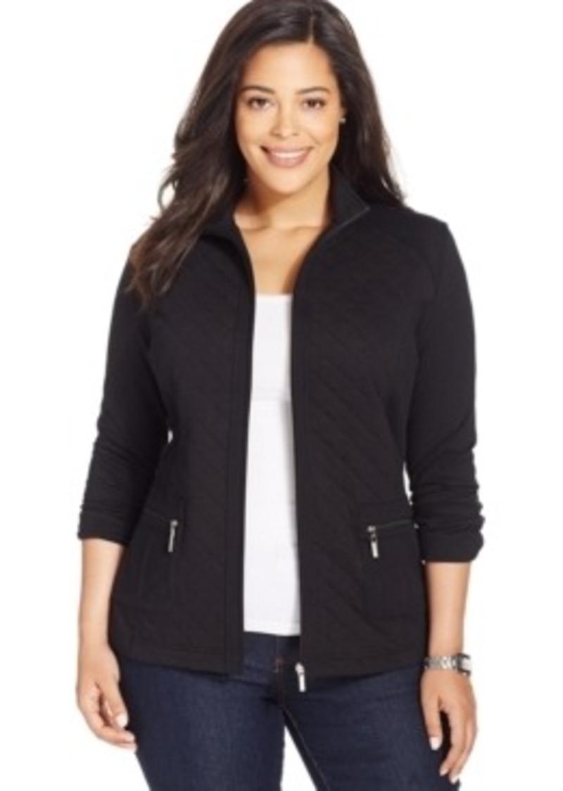 Karen Scott Karen Scott Plus Size Quilted Zipper Front