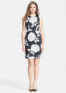 kate spade new york 'aires rose abbey' print stretch cotton sheath dress
