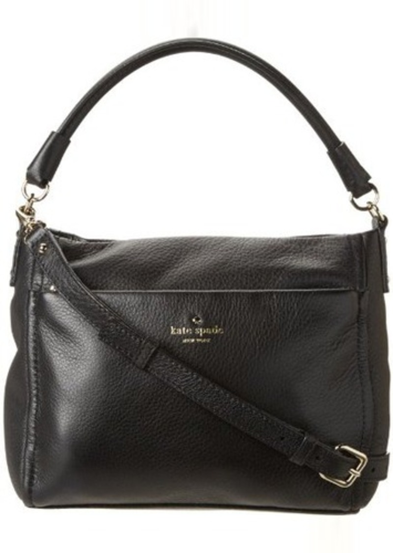 Aubergine leather Kate Spade New York Arbour Hill Lilah satchel with gold-tone hardware, optional flat shoulder strap, single flat top handle, protective feet at base, Rose leather interior, dual pockets at interior wall; one with zip closure and magnetic snap closure at front flap.