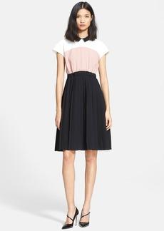 kate spade new york colorblock crepe pleated dress