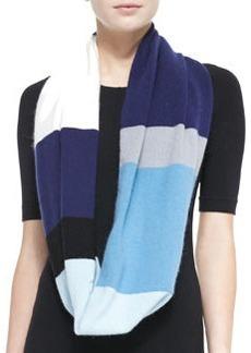 kate spade new york colorblock mohair-blend infinity scarf, navy blue/cream