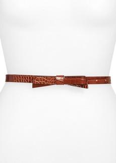kate spade new york croc embossed skinny bow belt