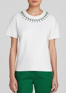 kate spade new york Embellished Short Sleeve Sweater