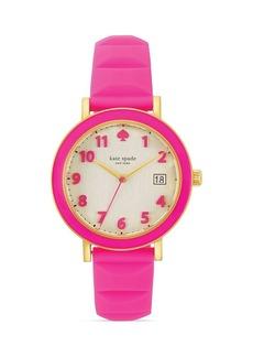 kate spade new york Enamel Bezel Silicone Strap Metro Watch, 36mm