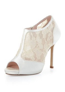 kate spade new york florentina lace peep-toe bootie, ivory