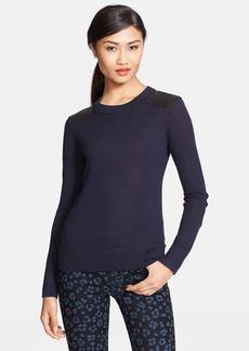 kate spade new york 'genni' leather trim wool sweater
