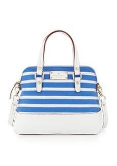 kate spade new york grove court striped maise satchel bag, azure blue/white