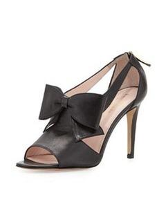 kate spade new york imelda peep-toe bow sandal, black