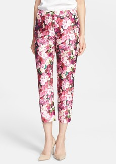 kate spade new york 'jackie' rose print cotton & silk capri pants