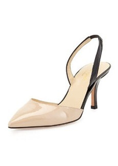 kate spade new york jeanette point-toe slingback pump, powder/black