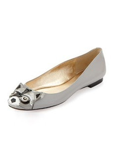 kate spade new york jiro raccoon patent ballerina flat, pale gray