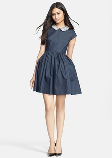 kate spade new york 'kimberly' embellished denim fit & flare dress